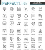 Network technology thin line web icons set. Big data outline stroke icons design