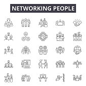 Networking people line icons, signs set, vector. Networking people outline concept illustration: people,network,business,social,communication,human,team