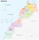 New administrative and political vector map of the twelve regions of the Kingdom of Morocco 2015