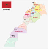 New administrative and political vector map of the twelve regions of the Kingdom of Morocco with flag 2015