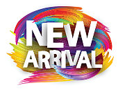 New arrival poster with spectrum brush strokes on white background. Colorful gradient brush design. Vector paper illustration.