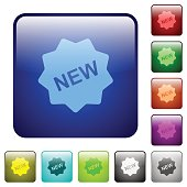 New badge color glass rounded square button set