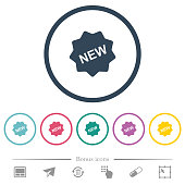New badge flat color icons in round outlines. 6 bonus icons included.