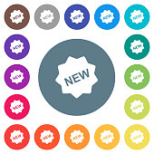 New badge flat white icons on round color backgrounds. 17 background color variations are included.