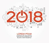 2018 text design on creative business success strategy. Concept modern template layoutю 2017 text surrounded by doodle icons