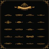 New Calligraphic Page Divider set and Element of vintage ornament. Elements for retro vector crest, decorative border line. Gold royal border book