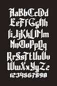 New modern custom gothic font. Full alphabet set with digits