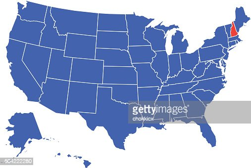 New Hampshire Map On Blue Background Long Shadow Flat Design - New hampshire on the map of usa