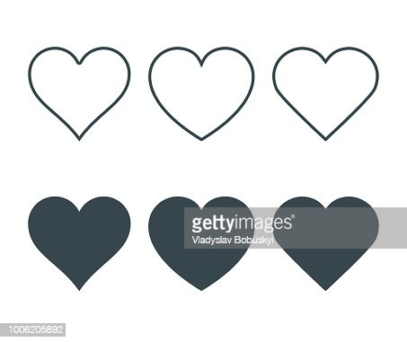 New heart icons, concept of love, Set of linear icons with thin line and with dark fill. Isolated on white background. Vector Illustration : Vector Art