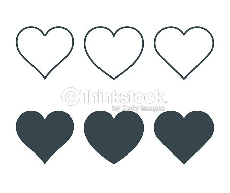 New heart icons, concept of love, Set of linear icons with thin line and with dark fill. Isolated on white background. Vector Illustration : stock vector