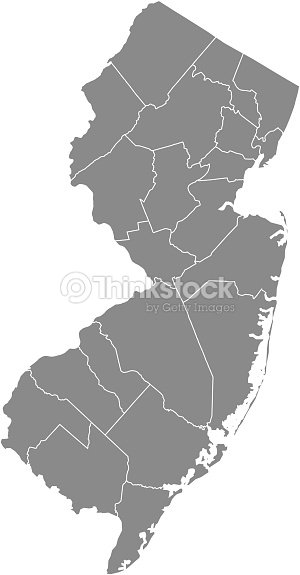 New Jersey County Map Vector Outline Gray Background Map Of New