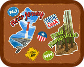 New Jersey, New Hampshire travel stickers with scenic attractions and retro text. State outline shapes. State abbreviations and tour USA stickers. Vintage suitcase background