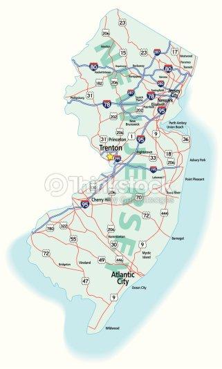 Mapa De La Autopista Del Estado De Nueva Jersey Arte Vectorial - Mapa de new jersey
