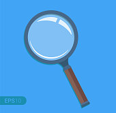 New magnifying glass isolated on blue background. Retro design, flat icon