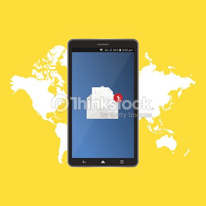 New message in black smartphone on background world map notification new message in black smartphone on background world map notification icon flat vector illustration eps 10 gumiabroncs Image collections