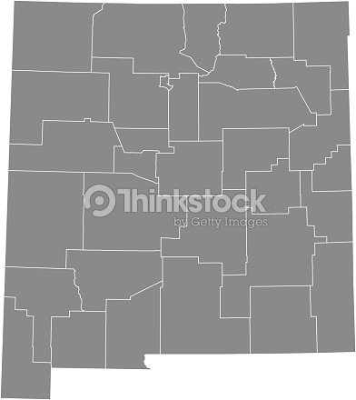New Mexico County Map Vector Outline Gray Background Map Of New ...