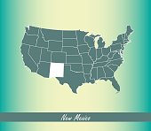 This abstract creative map of New Mexico state of United States af America is designed on an old paper background. The state's name is written like a signature on a ribbon.