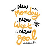 New monday new week new goal word vector illustration doodle style