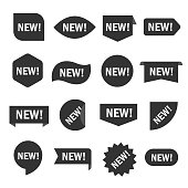 New tag set. Sticker for shop in black and white, recent or modern collection image. Vector flat style cartoon illustration isolated on white background