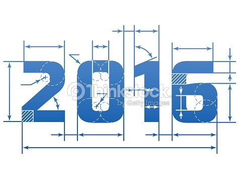 New Year 2016 Number With Dimension Lines Vector Art | Thinkstock