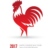 Greeting card design for chinese New Year 2017 with red rooster icon isolated on white background