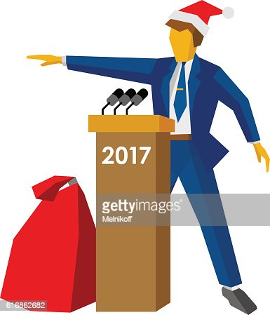 New Year 2017 concept: speaker at podium in Santa hat : Vector Art