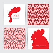 Greeting cards design set for New Year 2017 with red rooster and two seamless chinese textures in red and white colors
