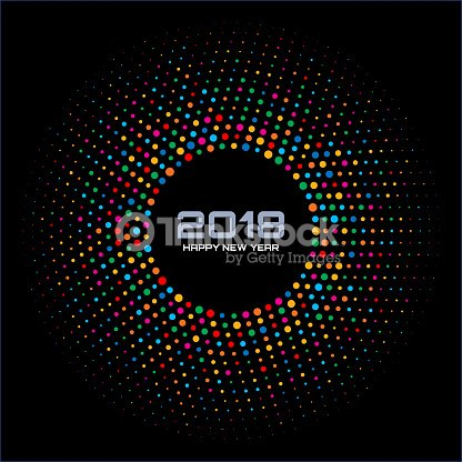 New Year 2018 Card Background. Bright Colorful Disco Lights Halftone Circle Frame isolated on black background. Round border using rainbow colors confetti circle dots texture. Vector illustration. : stock vector