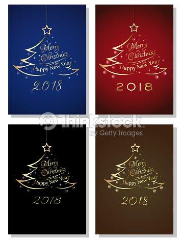 Ano Nuevo 2018 Letras Juego De Tarjetas Arte Vectorial Thinkstock