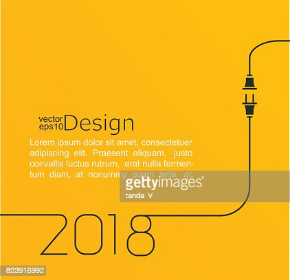 New year 2018 plug and socket. : stock vector