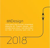 2018 - New year. Abstract line vector illustration with wire plug and socket. Concept of connection, new business, start up. Flat design.