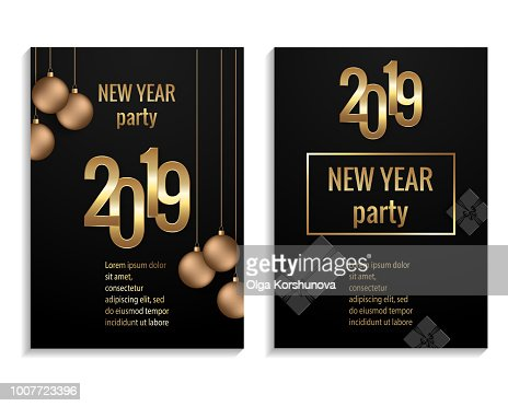New Year 2019 Party Invitation Poster Vector Template Vector Art