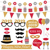 New Year 2019 photo booth props and decoration, vector set