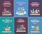 New Year and Christmas greeting cards. Winter holidays congratulation templates in flat design. Christmas and New Year wishing cards with traditional celebration text and winter festive backgrounds.