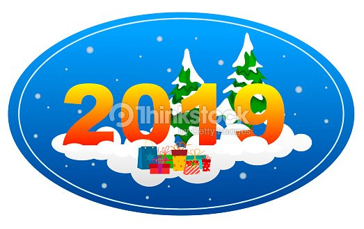 new year background by 2019 with fir trees on a snow cloud with gifts in the