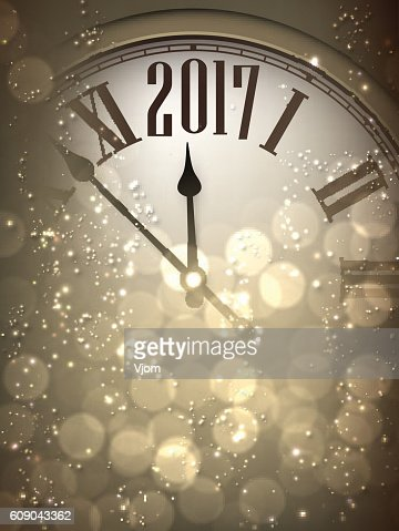 2017 New Year background with clock. : Vector Art