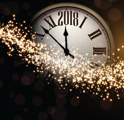 2018 new year background with clock vector art