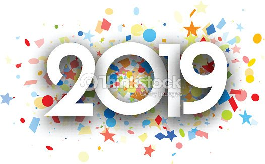 2019 New Year Background With Colorful Confetti Vector Art   Thinkstock