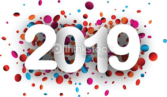 2019 new year background with colorful confetti vector art