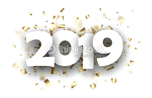 2019 new year background with gold confetti vector art