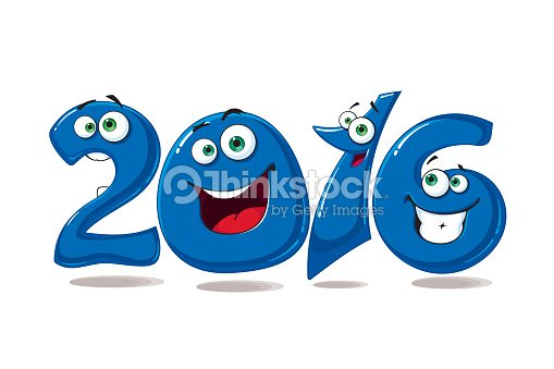 new year banner 2016 with blue glossy numbers
