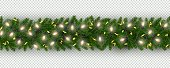 Christmas and New Year border of realistic branches of Christmas tree, garland, serpentine Element for festive design isolated on transparent background Vector