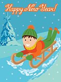 Cute child on snow sledding. Vector illustration new year card with little boy on sled and winter landscape, fir-tree on snow, lettering congratulation new year holiday.
