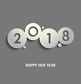 New Year card with cut out design gray circles vector eps 10