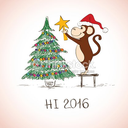 New Year Card With Funny Monkey Decorate The Christmas Tree Vector ...