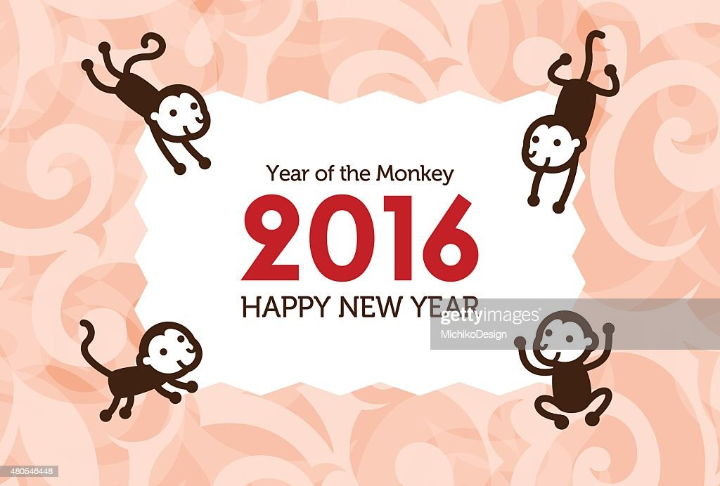 New Year card with Monkey : Vector Art