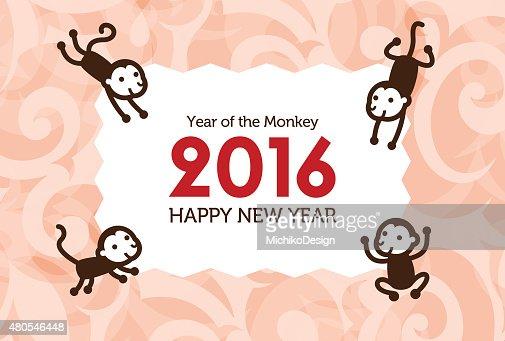 Anno nuovo card con Monkey : Arte vettoriale