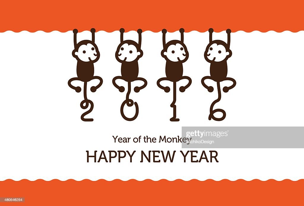 New Year card with Monkeys : Vector Art