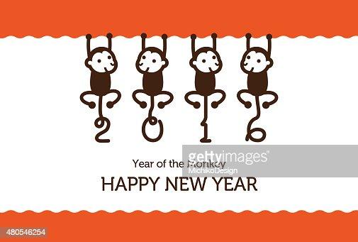 Anno nuovo card con scimmia : Arte vettoriale