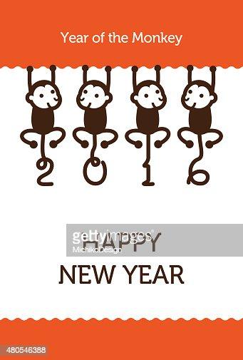 New Year card with Monkeys : Vector Art